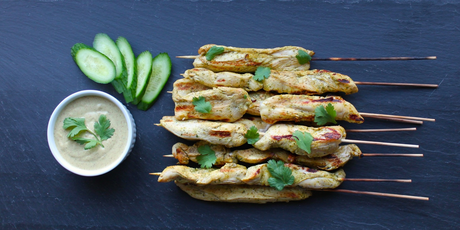 Thai Chicken Skewers with Peanut-Free Satay Sauce – the best party food.