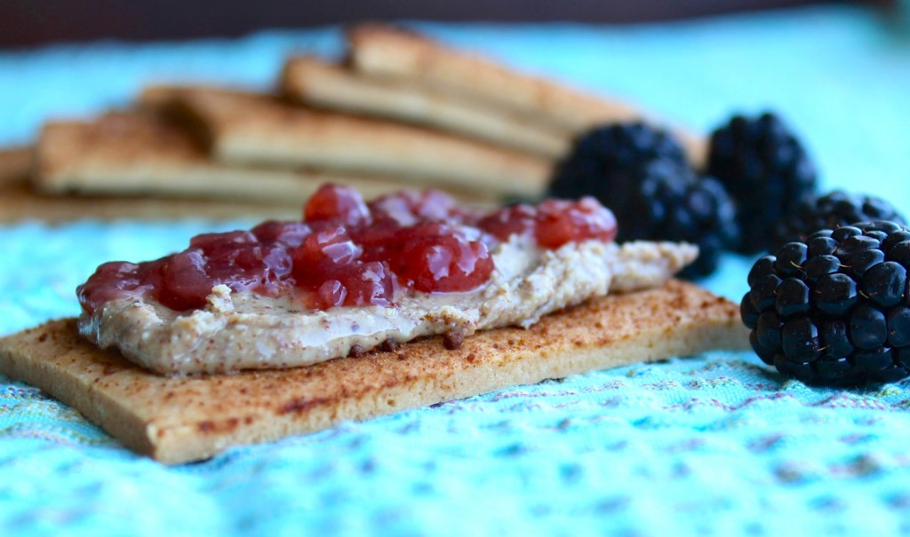 graham cracker with almond butter and jam