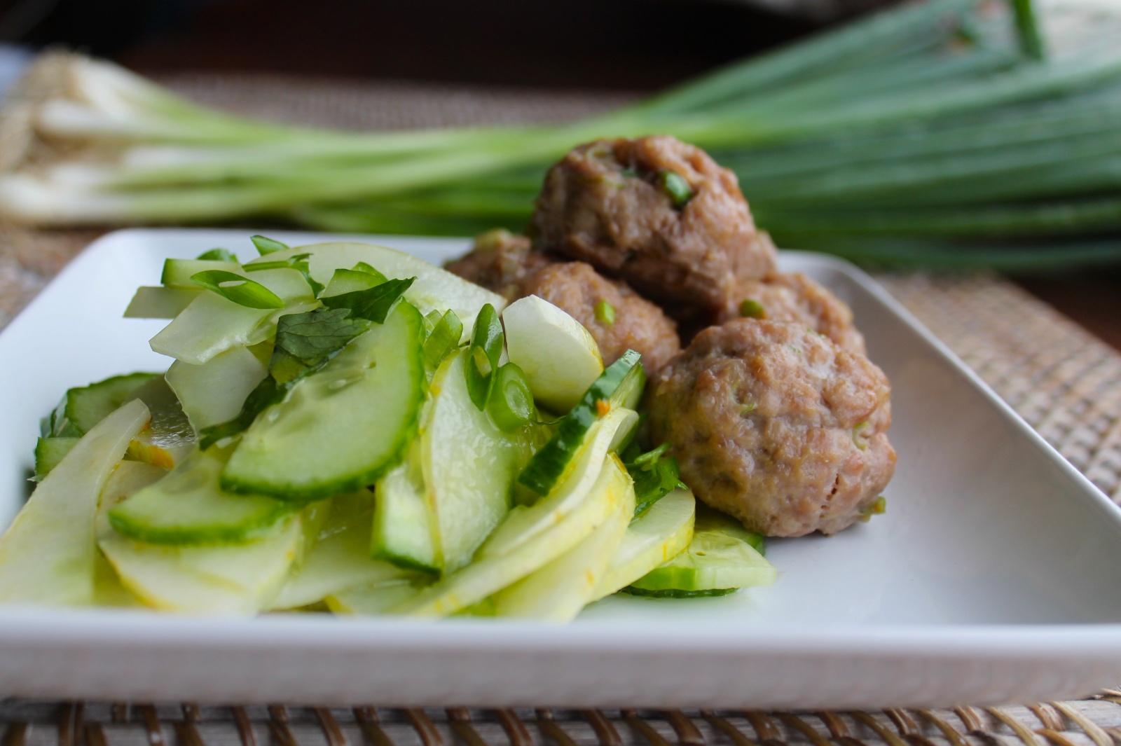 ginger-scallion pork meatballs