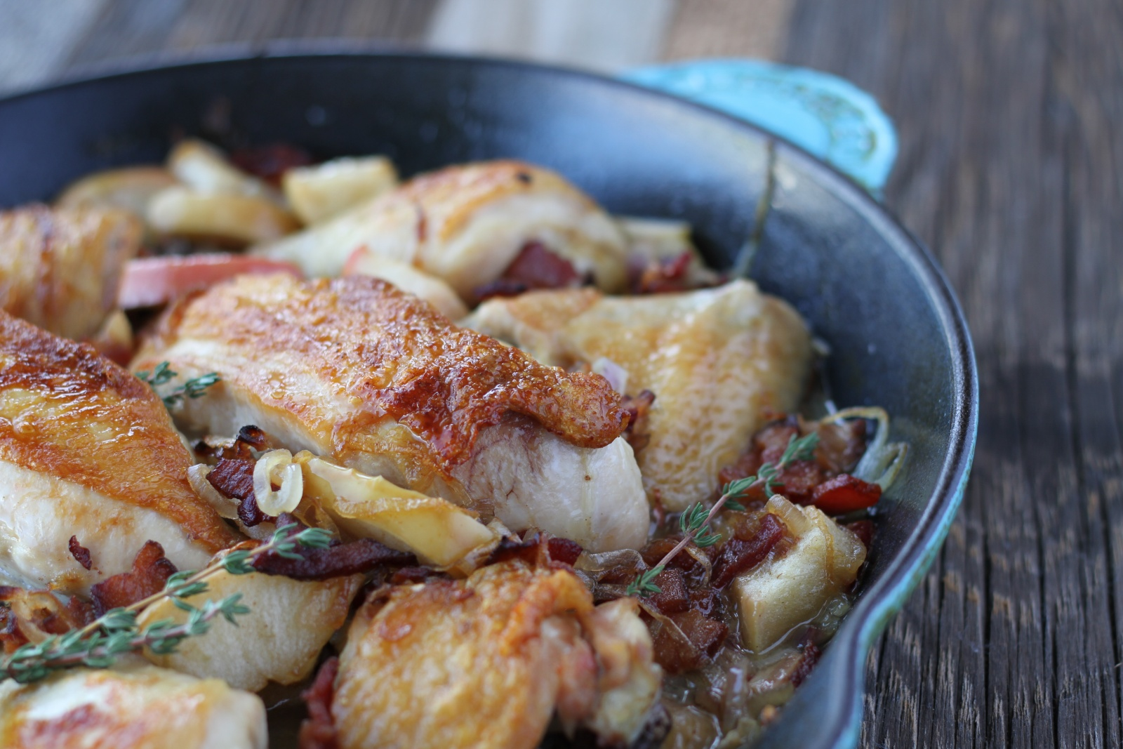 pan-roasted chicken with bacon and apples