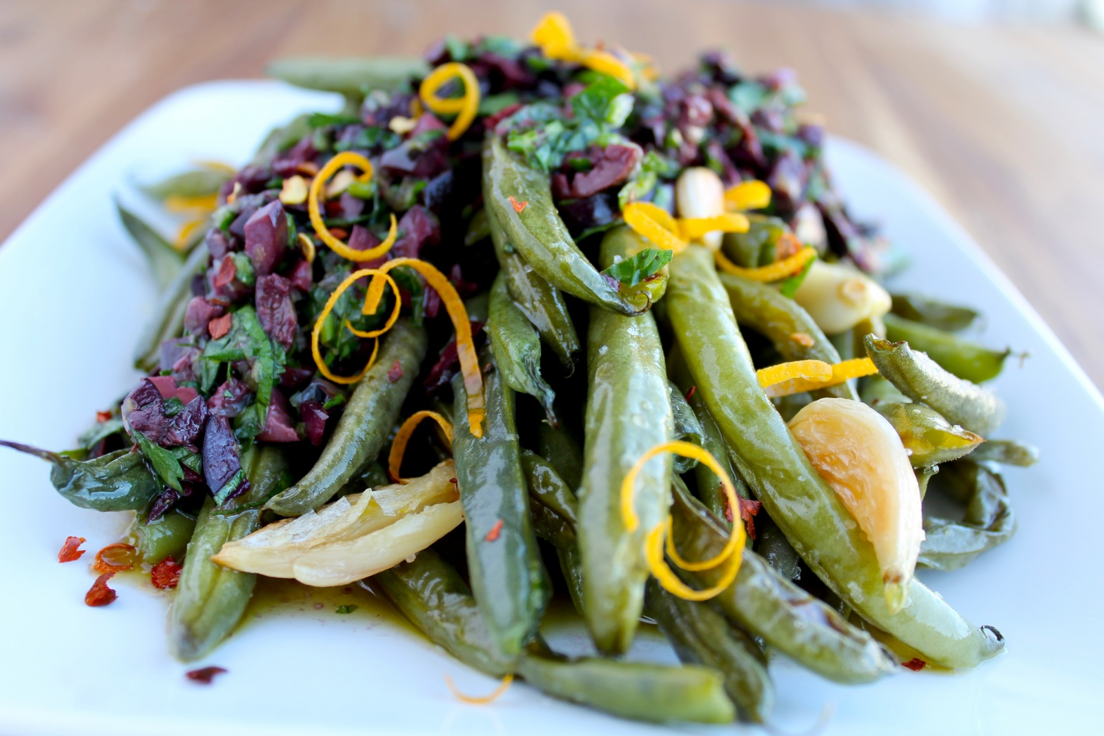 The Zenbelly Cookbook Sneak Peek: roasted green beans with kalamata olive vinaigrette