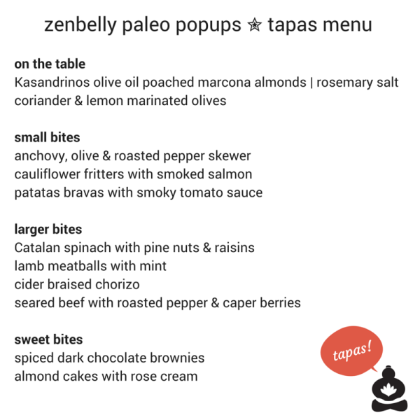 zenbelly paleo popup tapas menu