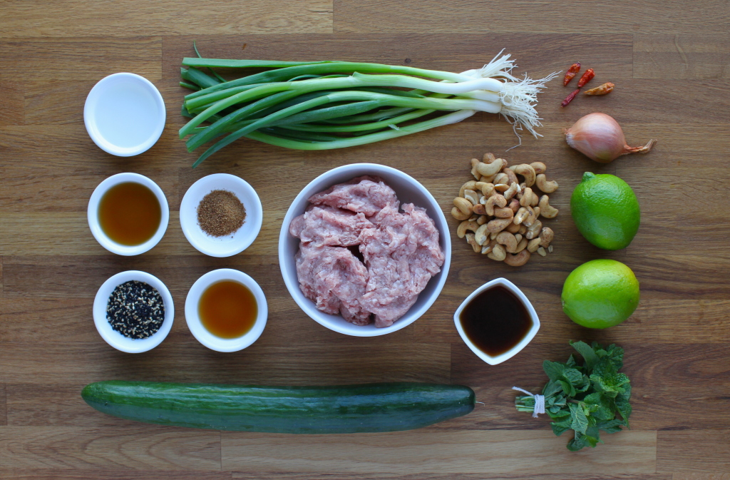 "Pork ""Larb"" with Cucumber Salad"