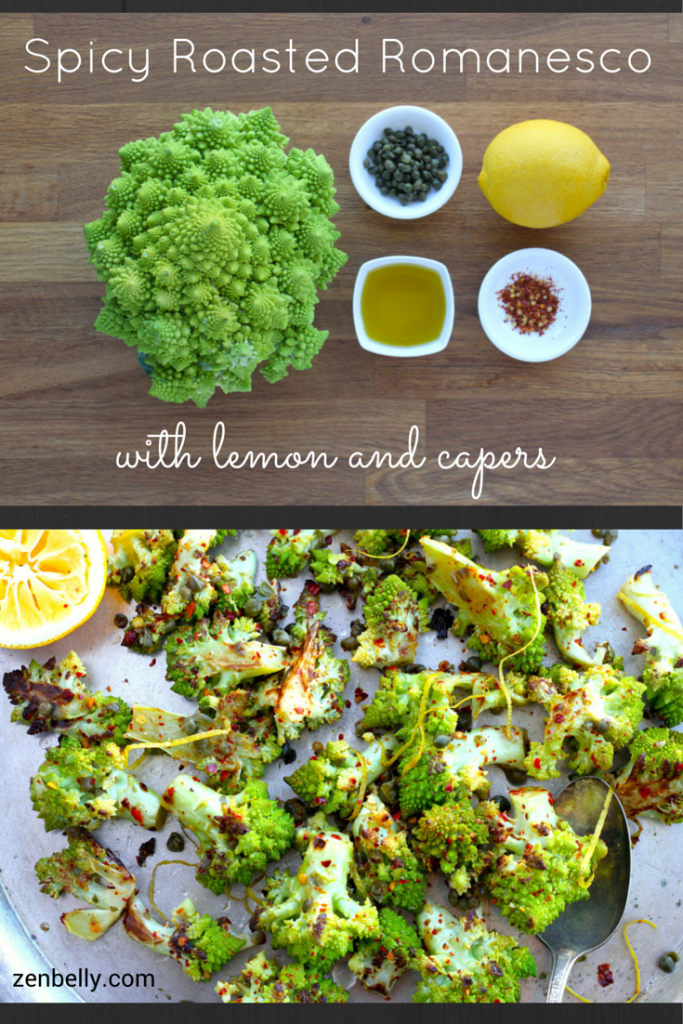 spicy romanesco with lemon and capers
