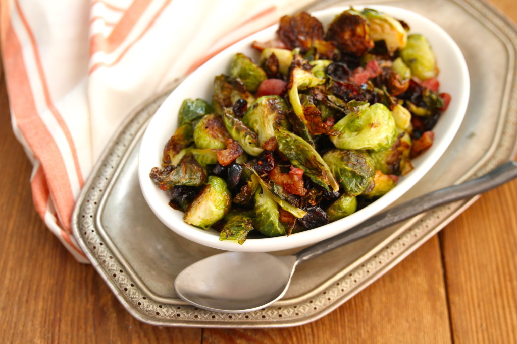 roasted brussles with pancetta and cranberries