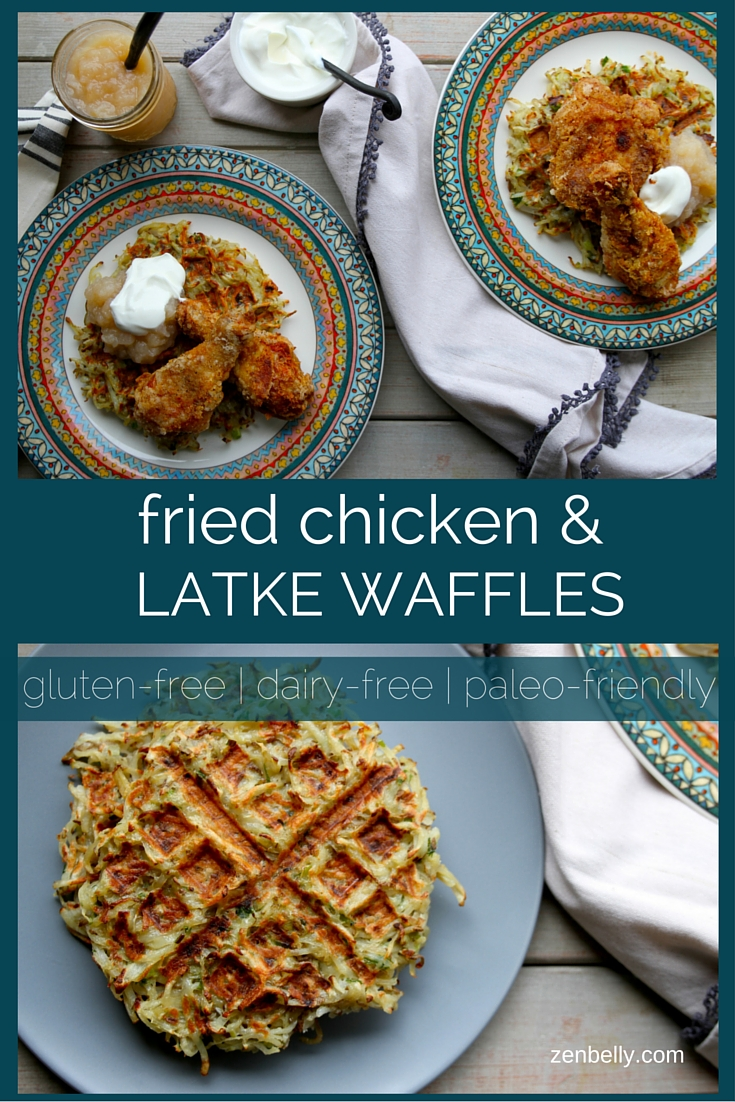 fried chicken and latke waffles