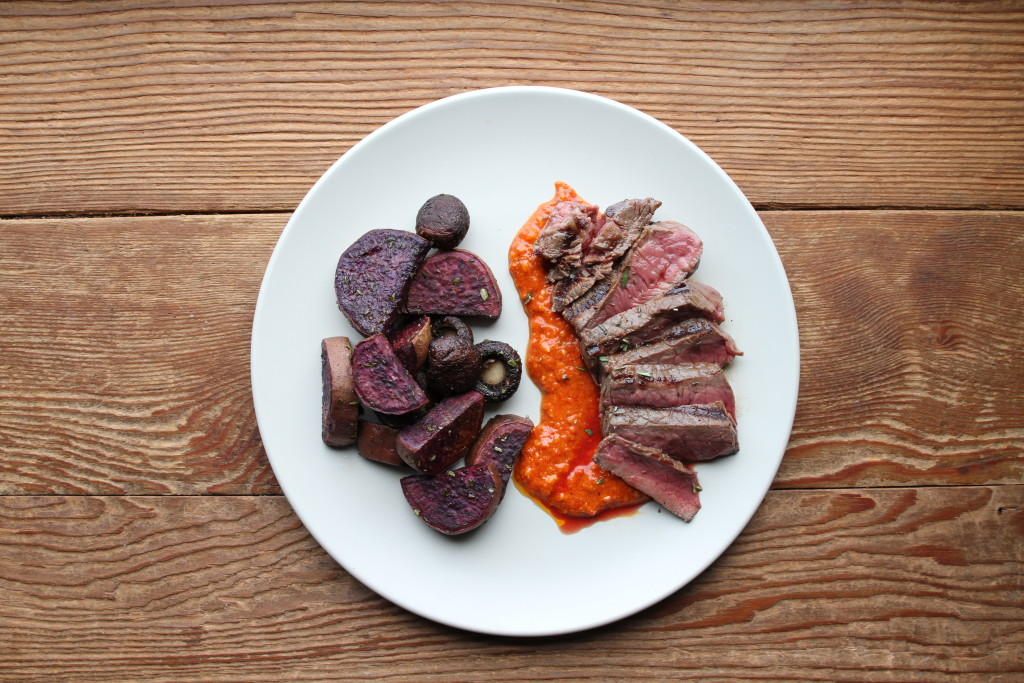 Steak with roasted pepper sauce & purple sweet potatoes