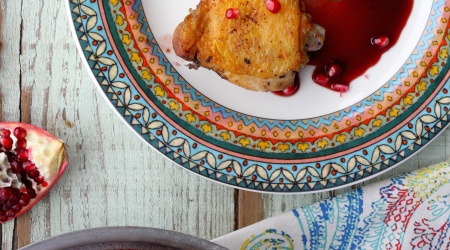 Super Crispy Chicken Thighs with Pomegranate Sauce + a Rosh Hashanah Round-Up