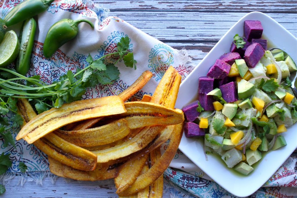 ceviche and plantain chips