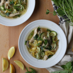 spring chicken soup with lemon and asparagus