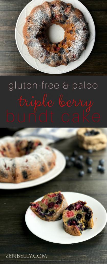 paleo triple berry bundt cake