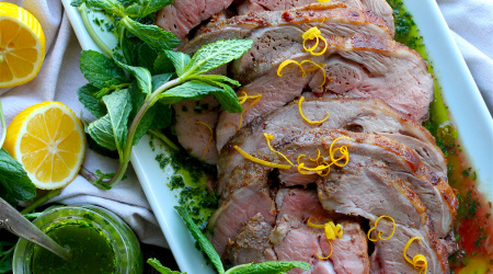 Boneless Leg of Lamb with Parsley-Mint Chimichurri
