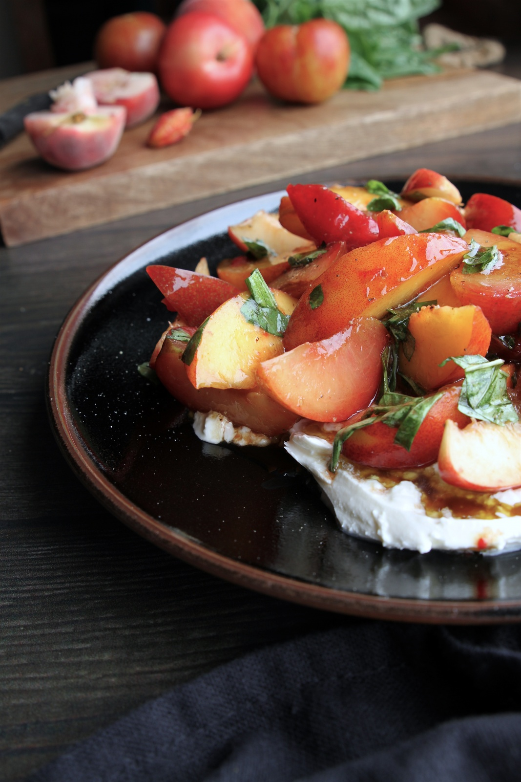 stone fruit and burrata caprese