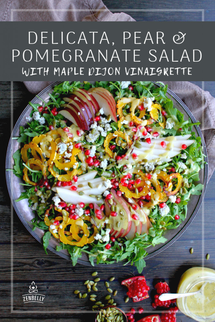 delicata pear pomegranate salad