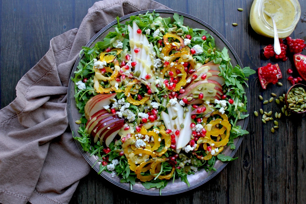 delicata, pear & pomegranate salad