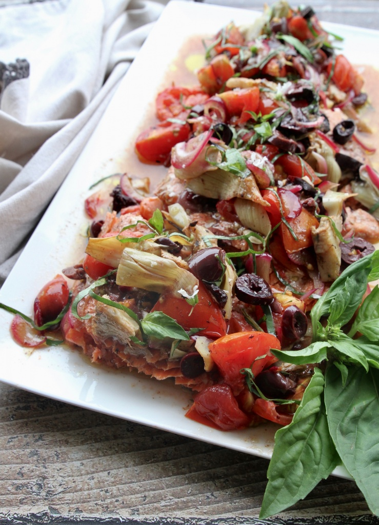 salmon with tomatoes olives & artichokes 1