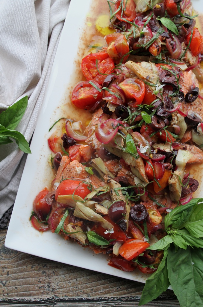salmon with tomatoes olives & artichokes