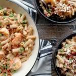 one skillet pasta shrimp peas pancetta