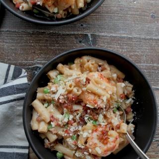 one skillet ziti shrimp peas pancetta 2