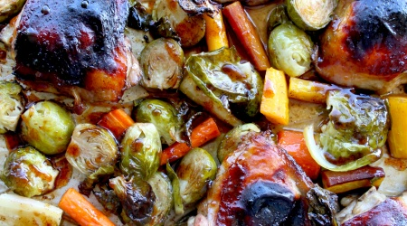 Sheet Pan Balsamic Chicken with Carrots and Brussels Sprouts
