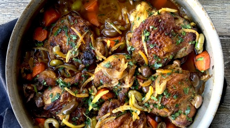 Moroccan Chicken with olives & preserved lemons – one skillet
