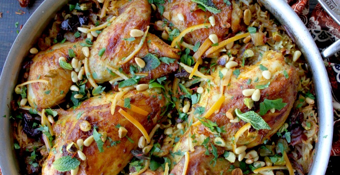 Moroccan Chicken and Rice with Dates & Olives