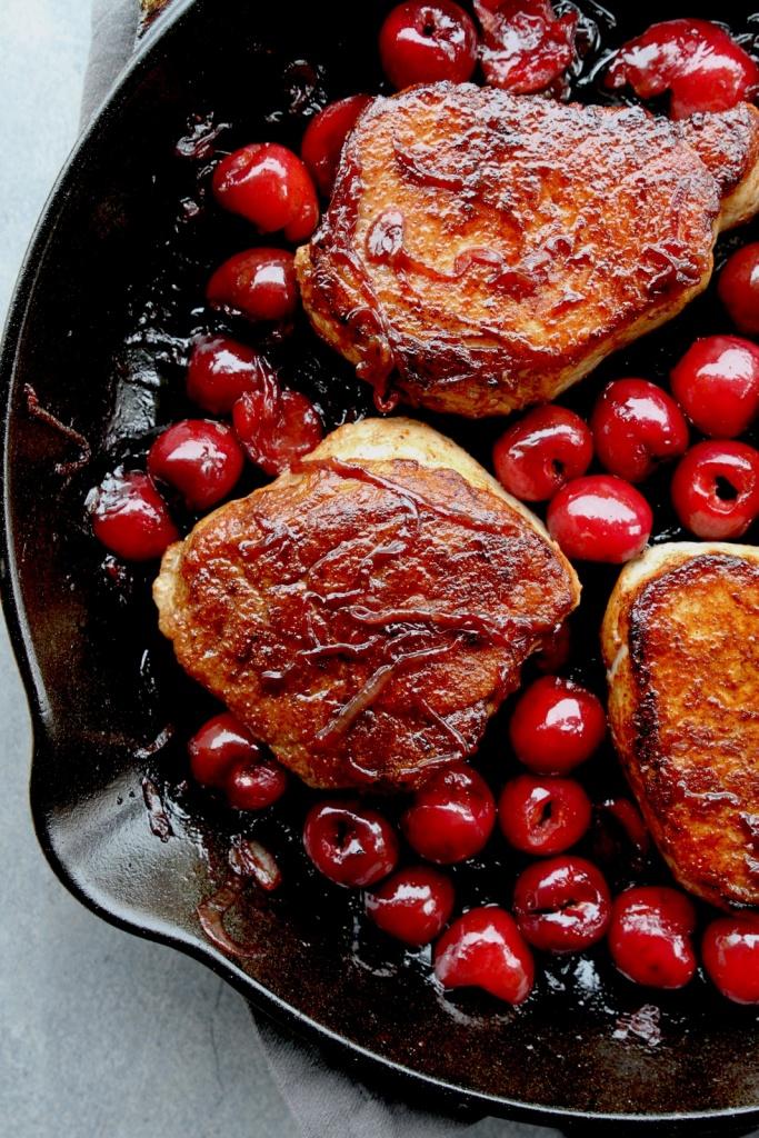 pork chops with cherries & bourbon