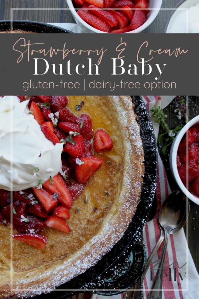 dutch baby with strawberries and cream
