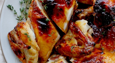 honey-garlic butter roast chicken