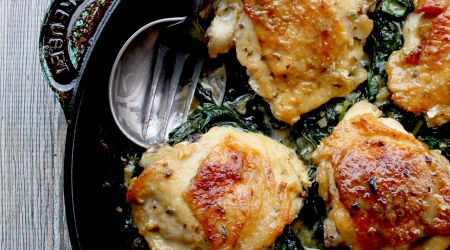 big flavor one skillet chicken with spinach, mustard & capers