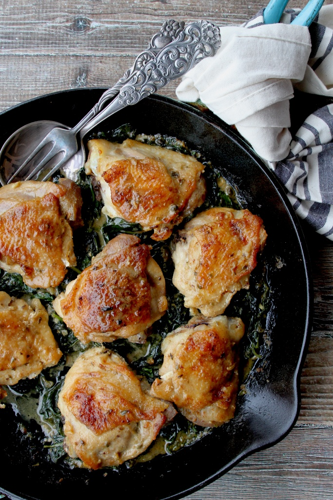 one skillet chicken and spinach