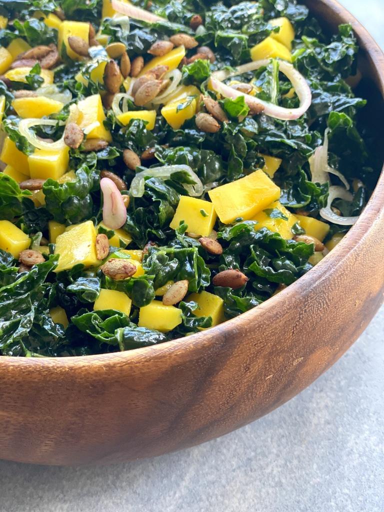 kale salad with mango