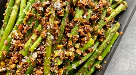 pencil-thin asparagus with brown butter & pistachios – simple and sublime